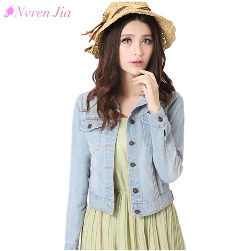 2018 Spring Women Denim Jacket Plus Size S-4XL Vintage Cropped Short Denim Coat Long-Sleeve Jeans Coat Cardigan Light/Deep Blue