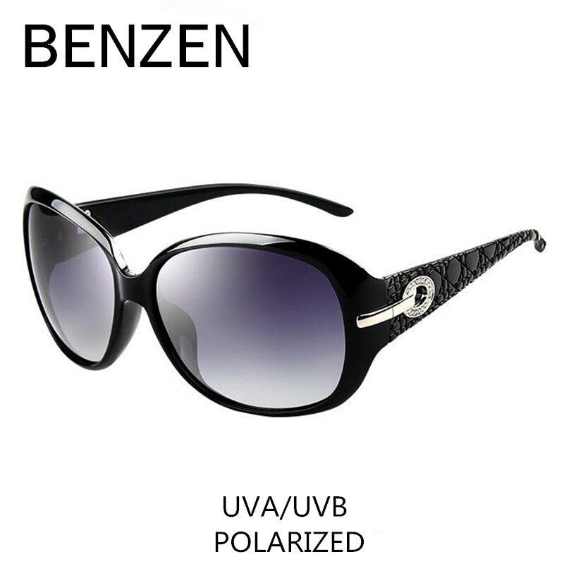 Sunglasses Women Polarized Elegant Rhinestone Ladies Sun <font><b>Glasses</b></font> Female Sunglasses Oculos De Sol BENZEN Shades With Case 6008