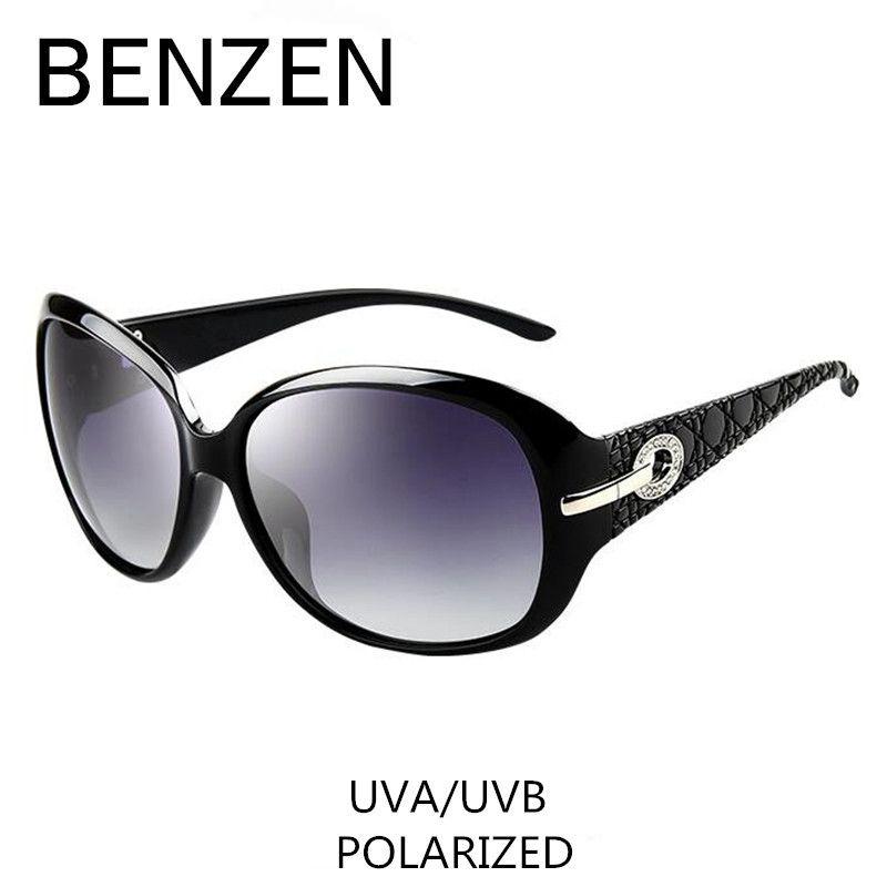Sunglasses Women Polarized <font><b>Elegant</b></font> Rhinestone Ladies Sun Glasses Female Sunglasses Oculos De Sol BENZEN Shades With Case 6008