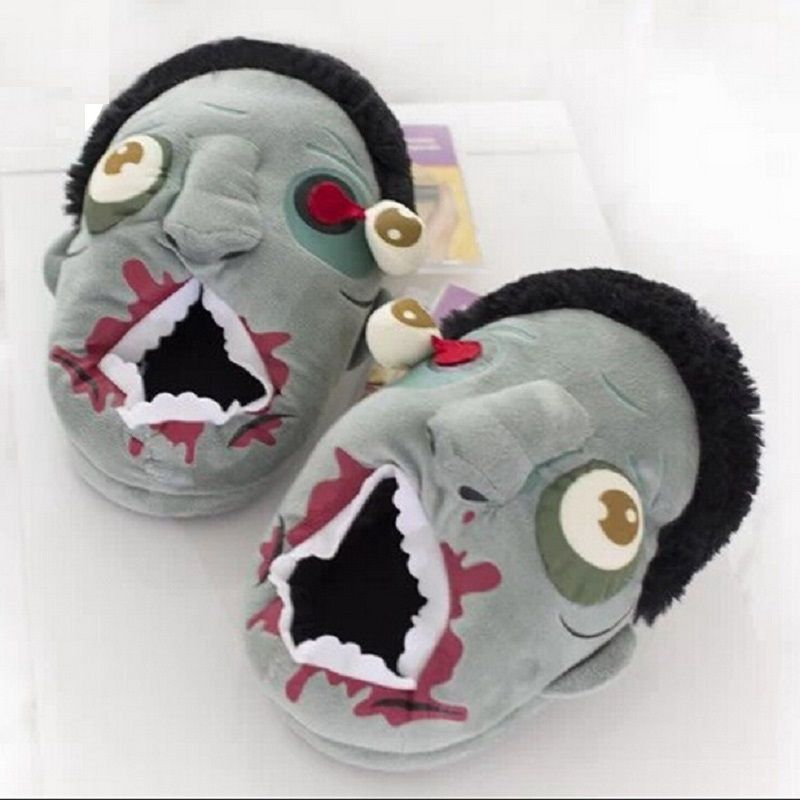Halloween Free Shipping 1Pair Plush Zombie Slippers / Ravenous Zombie Warm Slippers ctx11 Home Halloween funny shoes gift