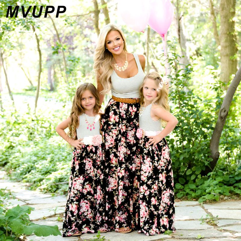MVUPP maman et moi famille correspondant mère fille robes vêtements rayé maman fille robe enfants parent enfant tenues look