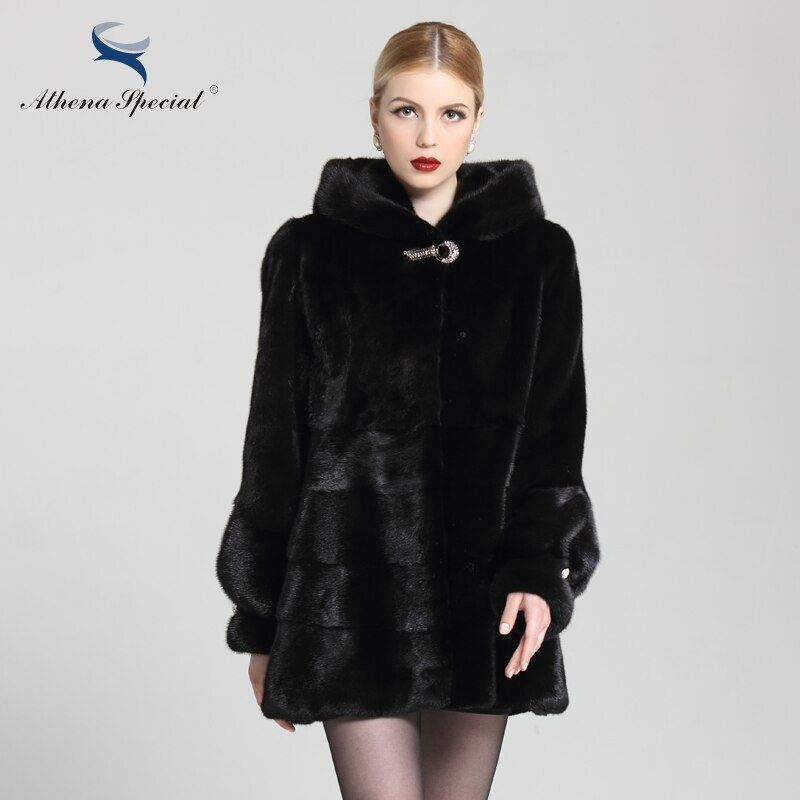 Athena Special Genuine NAFA Mink New Models Mink Fur Coat With Hoodie,Real Mink Coats Women,Fur Coat,Mink Coats Women Genuine