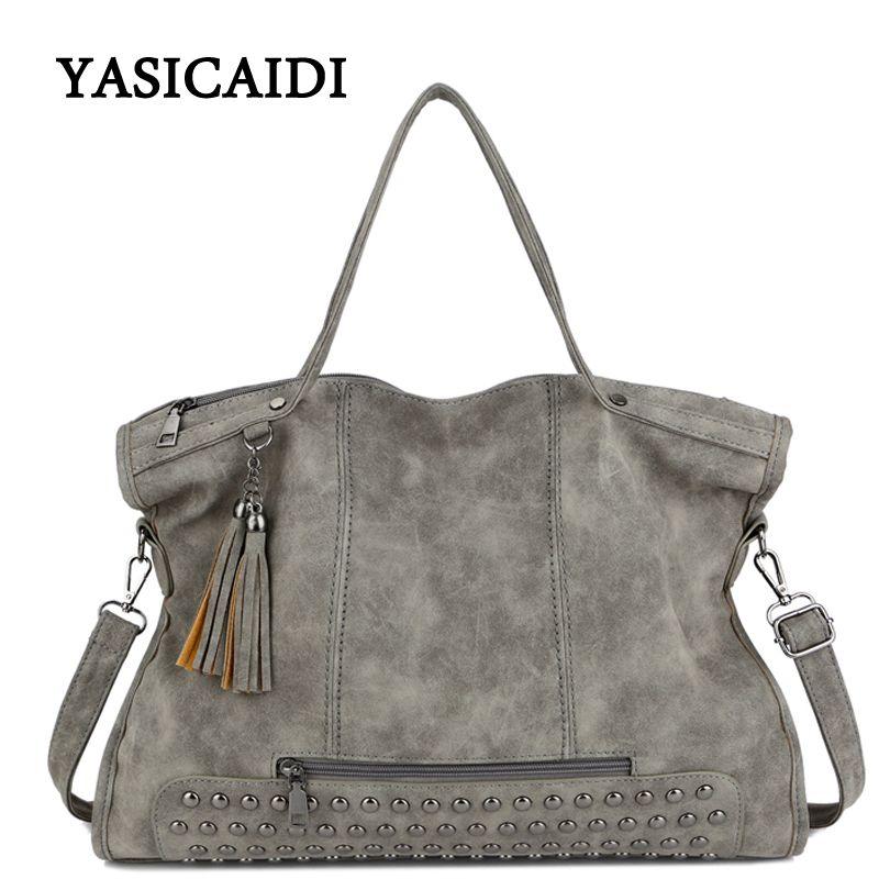 Large Capacity Famous Brand Rivet Handbag Fashion Women Tassel Shoulder Bag Pu Leather Female Big Casual Tote Bag