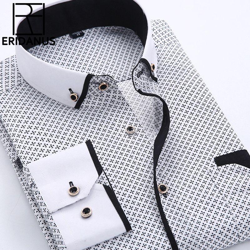 Grande taille 4XL hommes robe chemise 2016 nouveauté à manches longues Slim Fit col boutonné de haute qualité imprimé chemises d'affaires M014