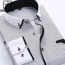 Ukuran besar 4XL Pria Berpakaian Kemeja 2016 Baru Kedatangan Lengan Panjang Slim Fit Button Down Collar Kualitas Tinggi Dicetak Kemeja Bisnis M014