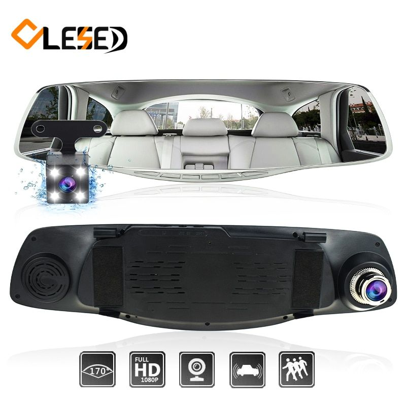 Car dash camera cam dvr dual lens rearview mirror auto dashcam recorder registrator Vehicle car video full hd front and rear