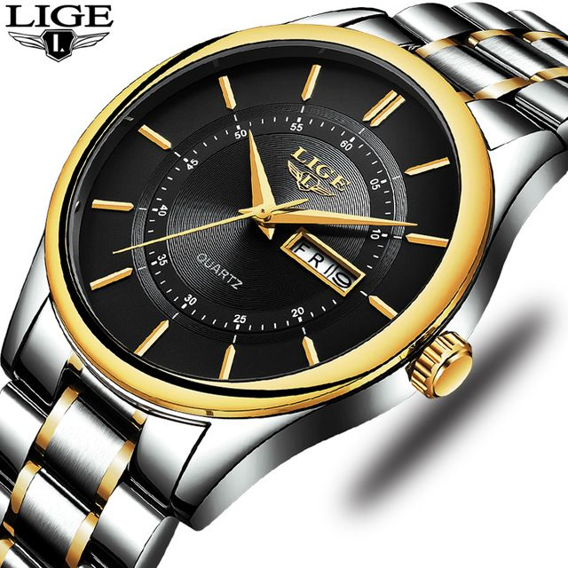LIGE Mens Watches Top Brand Luxury Business Quartz Watch Men Full Steel Waterproof Fashion Casual Sport Watch Relogio Masculino