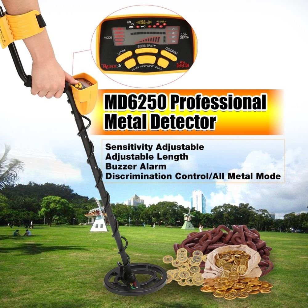 ACEHE MD6250 Professional Portable Mini Underground Metal Detector Handheld Treasure Hunter Gold Digger Finder Length Adjustable
