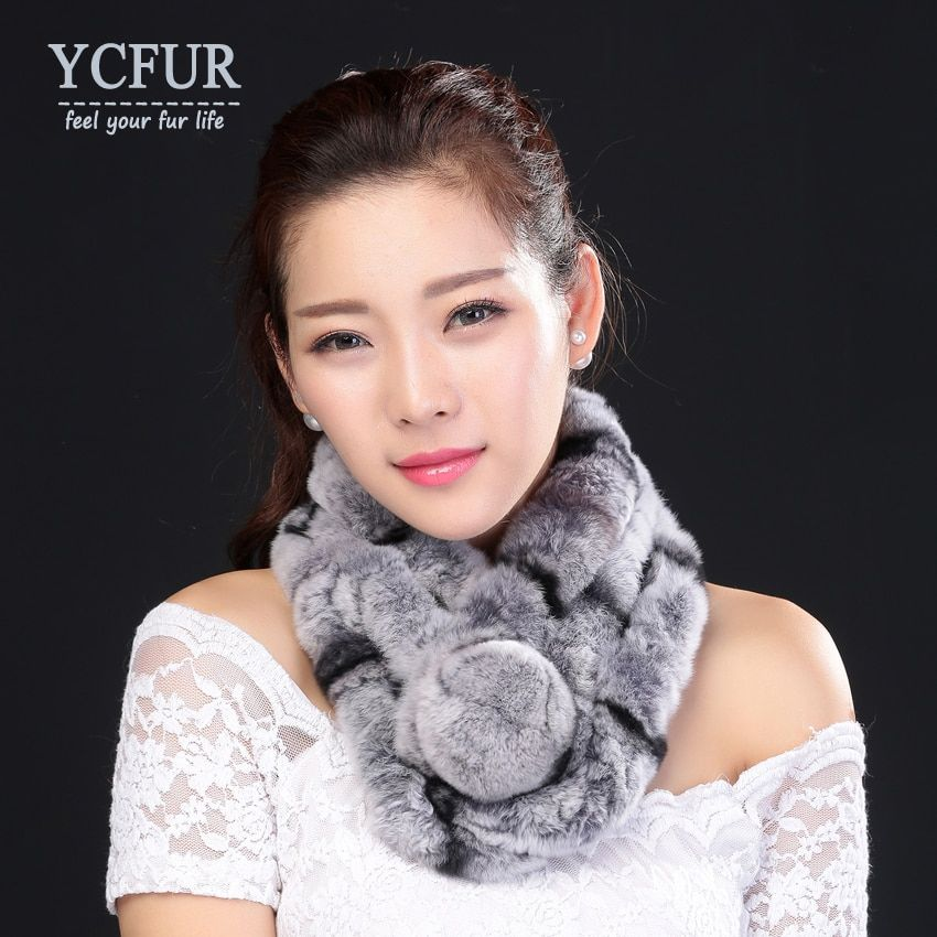 YCFUR New Style Real Fur Scarf Women Winter Handmade Knitted Natural Rex Rabbit Fur Scarves Wraps Female With Fur Pompom