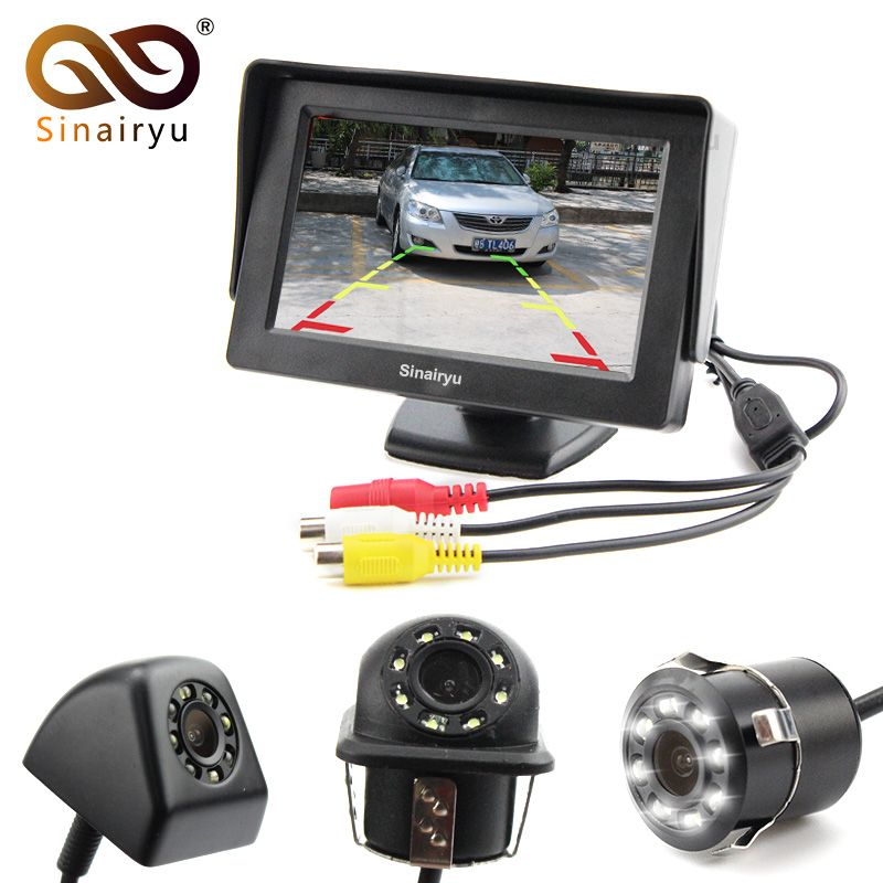 CCD HD Waterproof LCD Parking Monitors System, LED Night Vision Car Rear View Camera With 4.3 inch Car Rearview Mirror Monitor