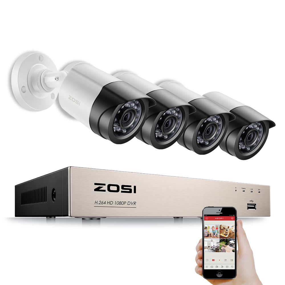 ZOSI 4CH 1080P HDMI P2P TVI DVR Surveillance System Video Output <font><b>4PCS</b></font> 2000TVL 2.0MP IP Camera Home Security CCTV Kits NO HDD