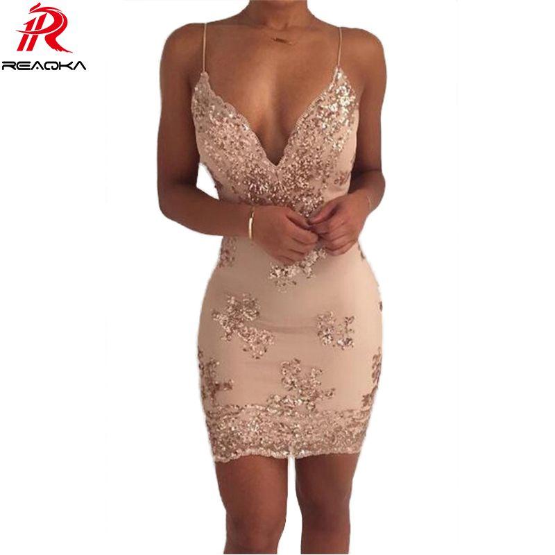 Womens <font><b>Gold</b></font> Black Sequins Summer Dress 2018 Sexy V neck Backless Women Sundress Luxury Party Club Wear Mini Dresses Vestidos New