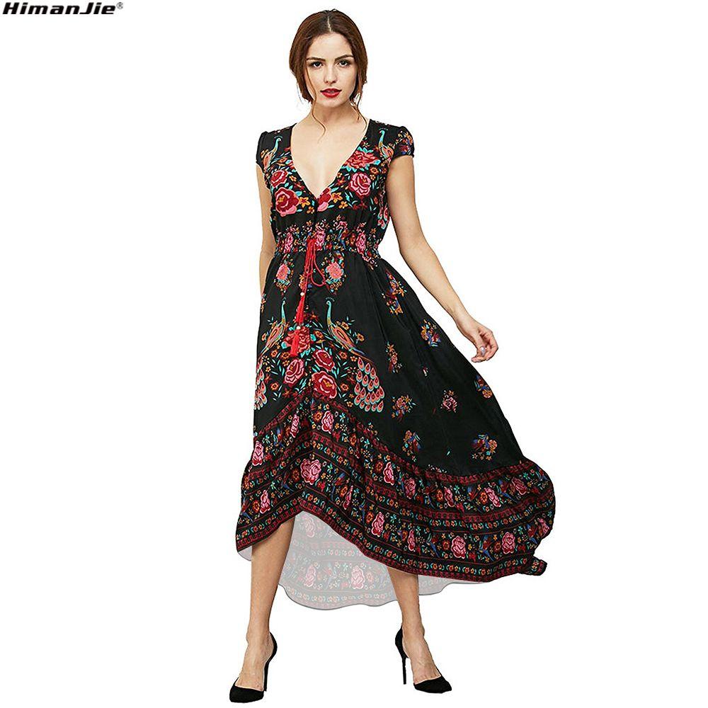 Floral Print Bohemian Women Maxi Dress Deep V <font><b>Neck</b></font> elastic waist Flower Vintage Summer beach Dresses Ladies Boho Ethnic Vestido