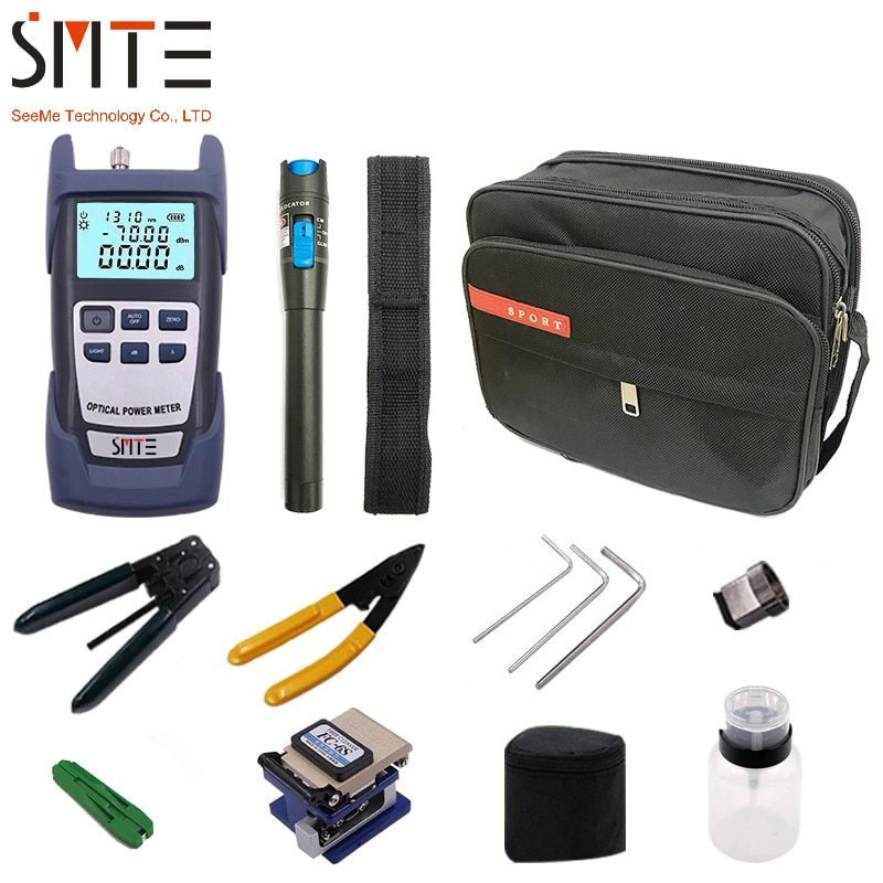 FTTH Fiber Optic Tool Kit 12pcs/set FC-6S Fiber Cleaver -70~+3dBm Optical Power Meter 5km Laser pen