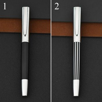 Student Vintage Simple Style Stripe JINHAO Brand Mteal Fountain Pen Silver Cilp Canetas For Calligraphy Writing 4545