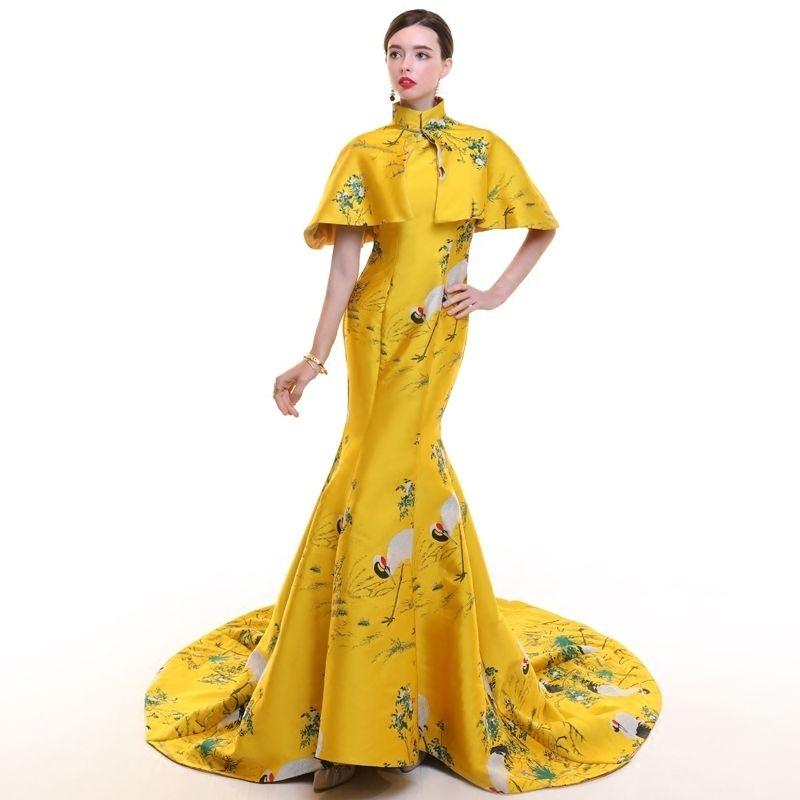 Mancha amarilla de La Vendimia Cheongsam Largo Moderno Chino Tradicional Vestido de Las Mujeres de Novia Qipao Robe Chinoise Oriental Vestido de Noche