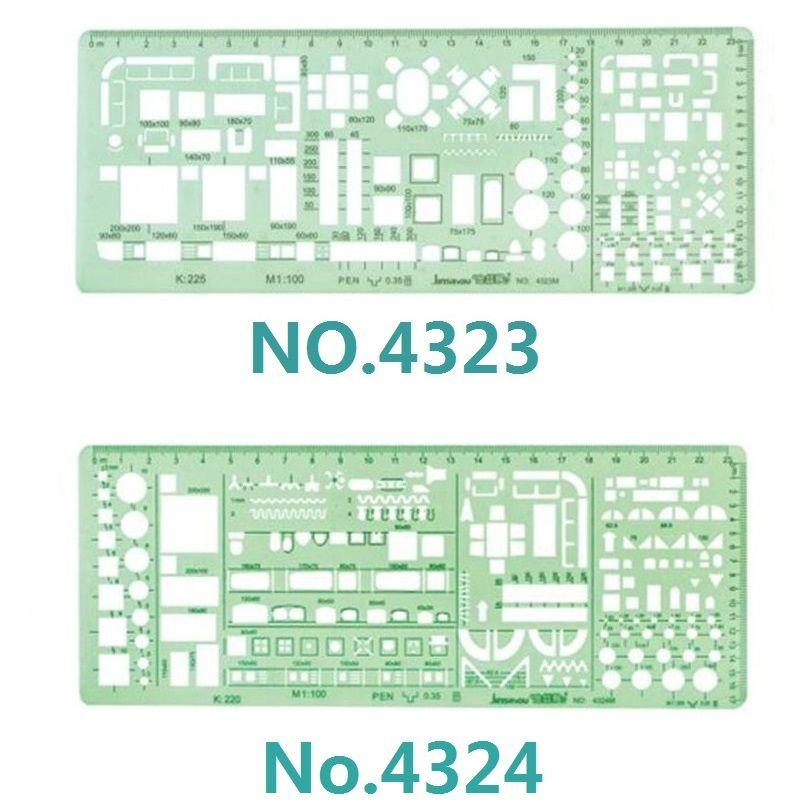 1:100 et 1:200 modèle à Double échelle combinaison d'architecte symboles de pochoir multi-design dessin technique n° 4323/4324