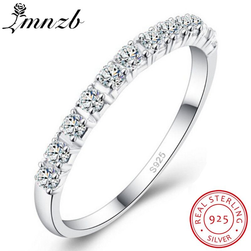 LMNZB 100% Original 925 Solid Silver Rings Simple Geometric Round Single Stackable Finger Rings For Women Fashion Jewelry LR086