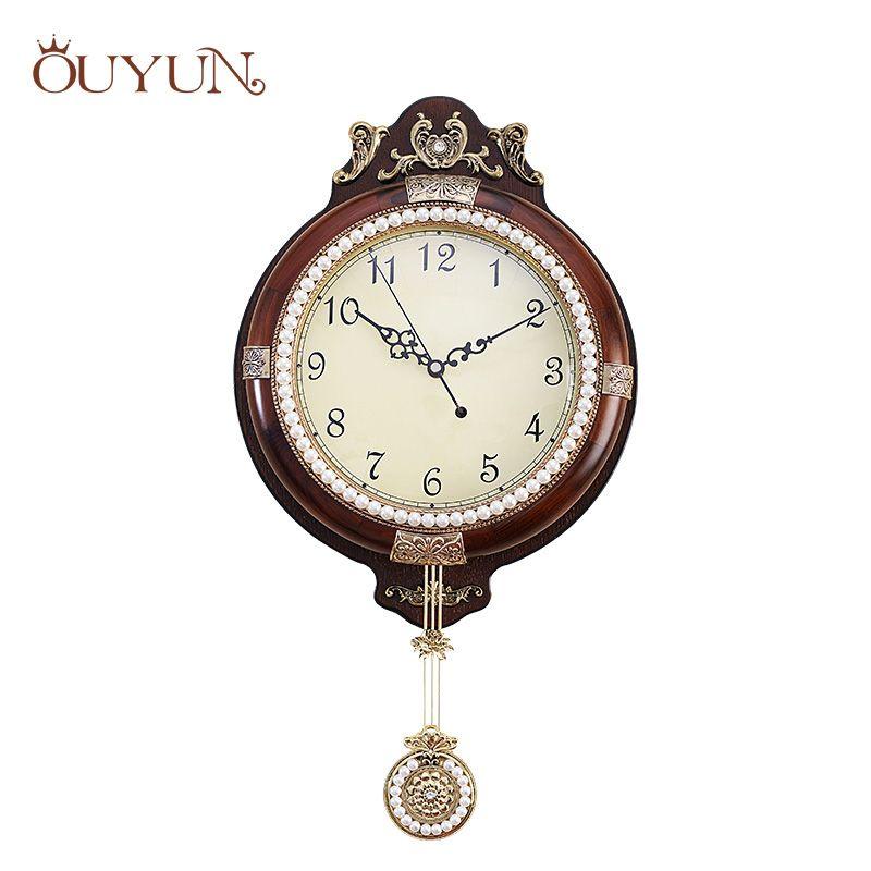 Ouyun Новый Мода 2017 г. деревянный антикварные настенные часы маятник механизм бесшумный кварцевый часовой механизм настенные часы Домашний Д...