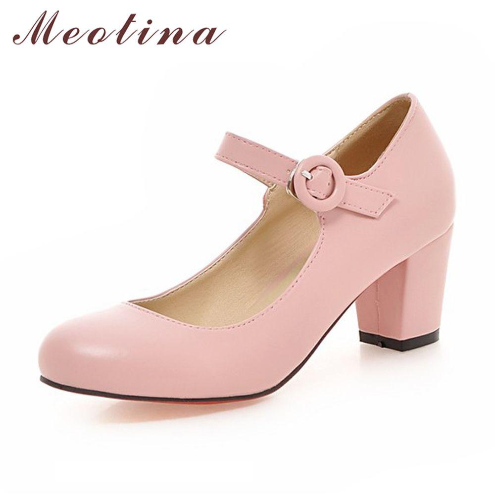 Meotina/Женская обувь mary jane женские туфли на высоком каблуке Белая Свадебная обувь Весна толстый каблук Туфли-лодочки черный, розовый Большой Р...