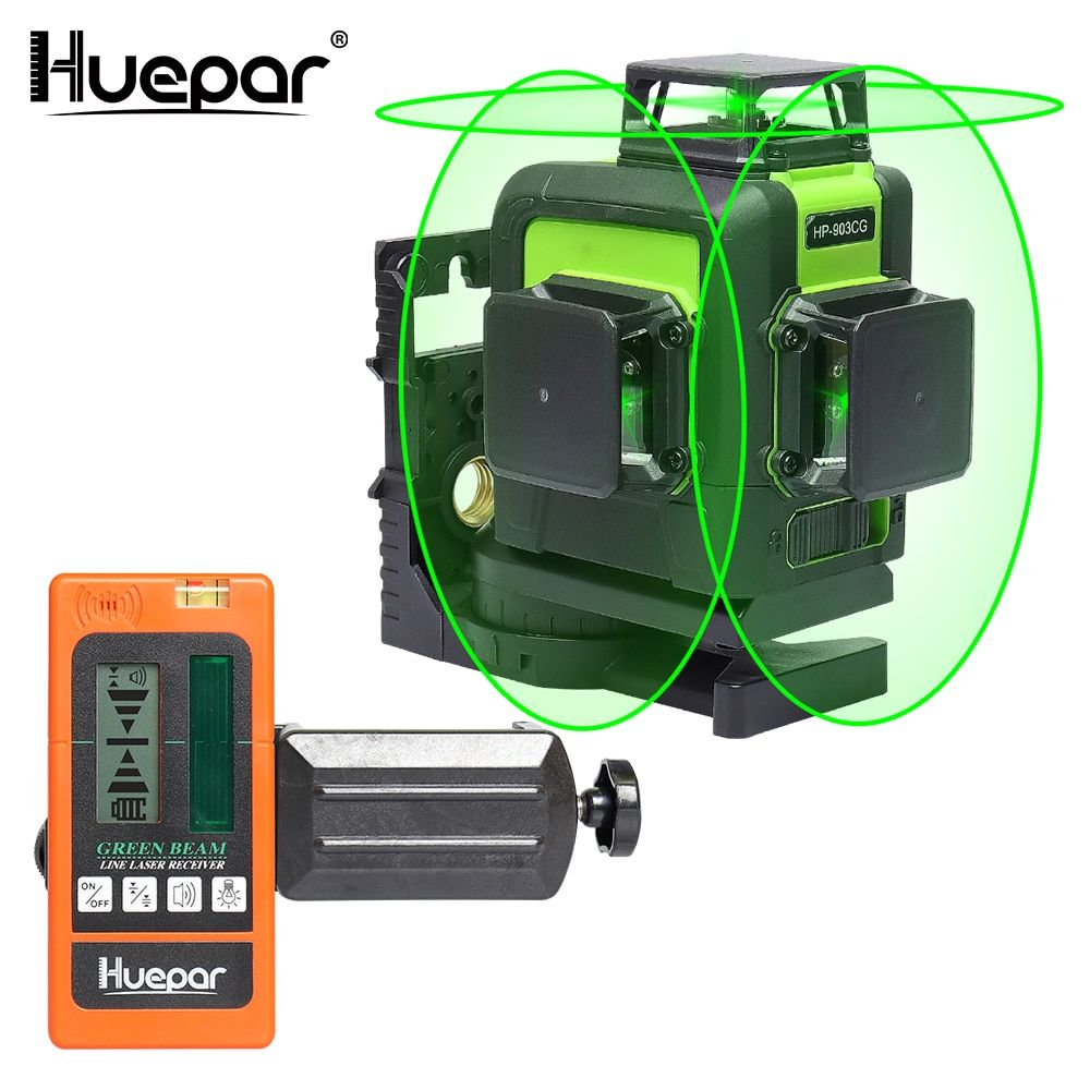 Huepar 12 Lines 3D Cross Line Laser Level Green Laser Beam Self-Leveling 360 Vertical Horizontal with Digital LCD Laser Receiver