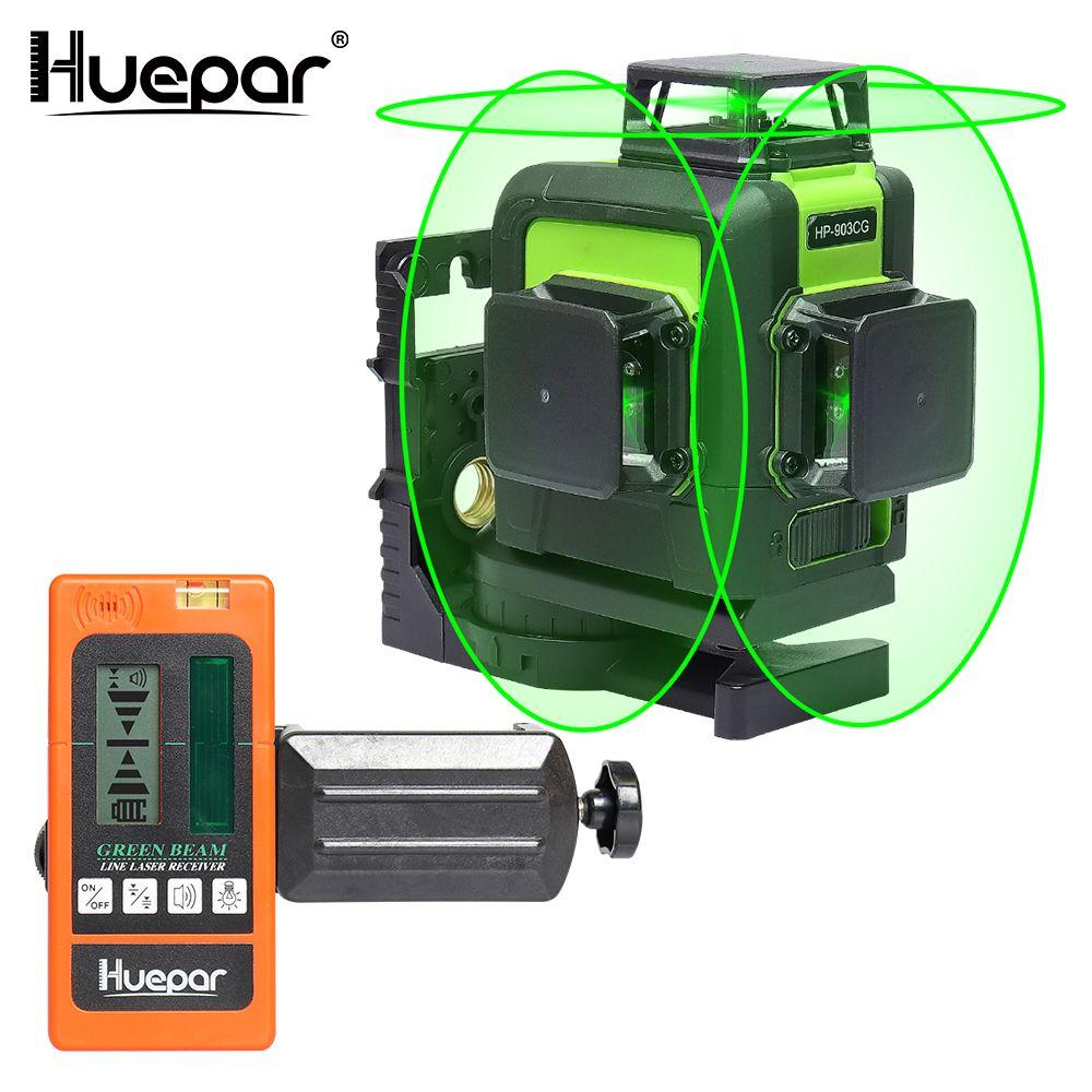 Huepar 12 Lines 3D Cross Line Laser Level Green Laser Beam Self-Leveling 360 Vertical Horizontal with Digital LCD Laser Receiver