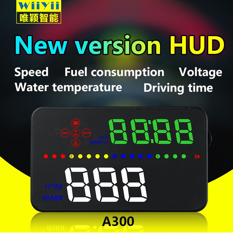 Newest 3.5 Inch Digital HUD Head Up A300 Display Speedometer Car Windshield Projector OBD2 Port Fuel Consumption Mileage