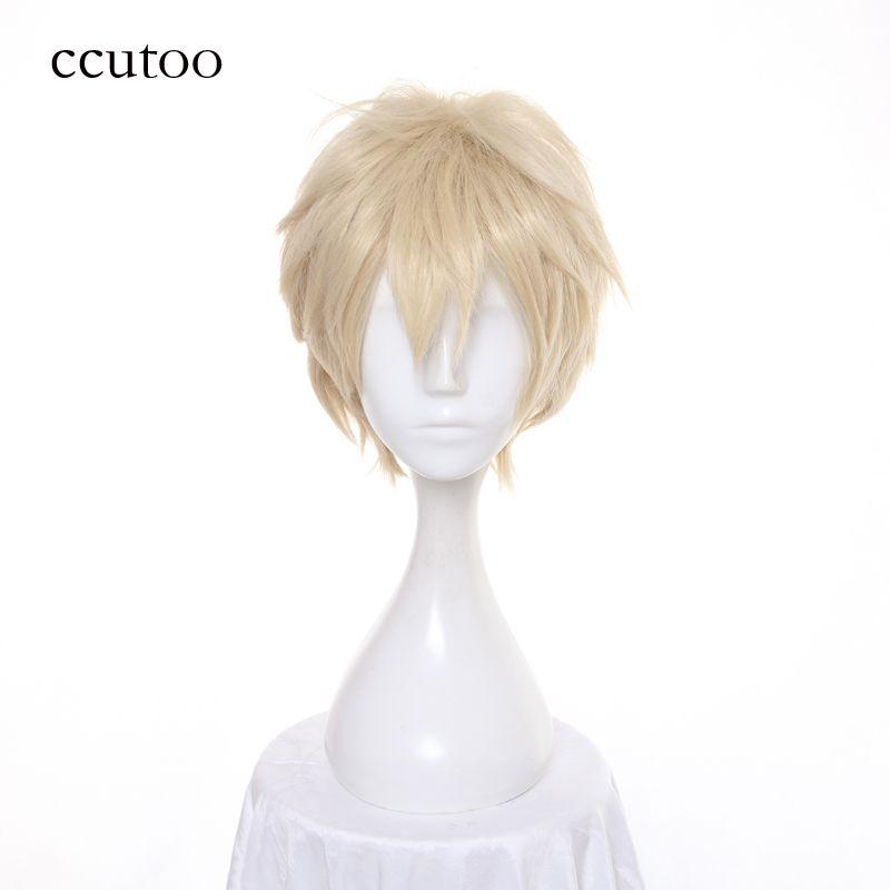 Ccutoo 12 pouces lumière doré court moelleux couches synthétiques perruques APH axe puissances Hetalia angleterre Cosplay perruque résistance à la chaleur cheveux