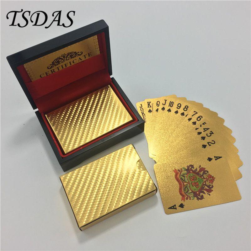 Feuille d'or plaqué cartes à jouer normales Poker 52 cartes 2 Jokers spécial inhabituel cadeau d'anniversaire Poker avec boîte en bois noir