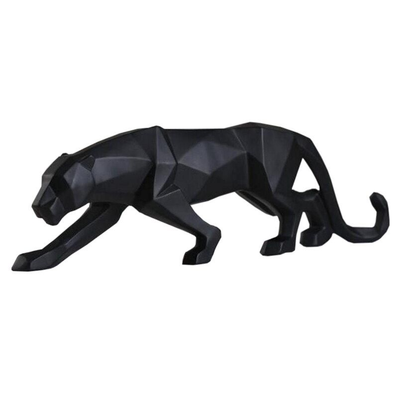 Moderne abstrait noir panthère Sculpture géométrique résine léopard Statue faune décor cadeau artisanat ornement accessoires ameublement