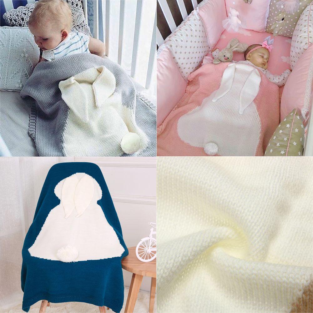 Manta de bebé Lindo Conejo Animales Patrón Swaddle Manta 6 Colores Suaves de Lana Caliente Niños Toalla de Baño 120X75 cm