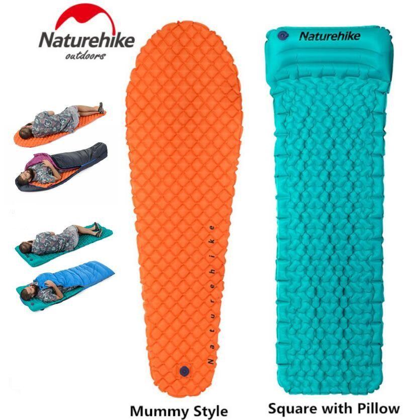 Brand Naturehike Outdoor Camping Inflatable Tent Mat Mummy Pads With Pillow Lightweight Air Mattress 470g Utralight camping mat