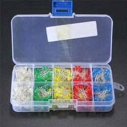 500Pcs/lot 3mm LED Diode Kit Ultra Bright LEDs Lights Lamp Emitting Diodes White Yellow Red Blue Green DIY Kit Set Bulb Lamp