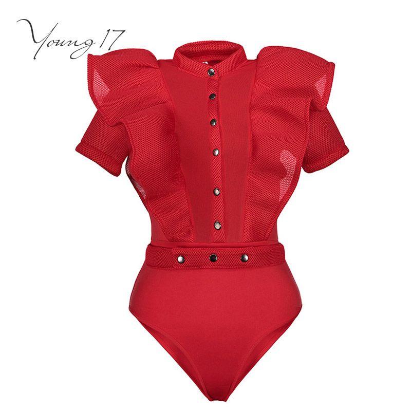 Young17 женщины комбинезон красный без рукавов модные пикантные Falbala Лоскутное шнуровке модные Клубные летние короткие женские комбинезоны