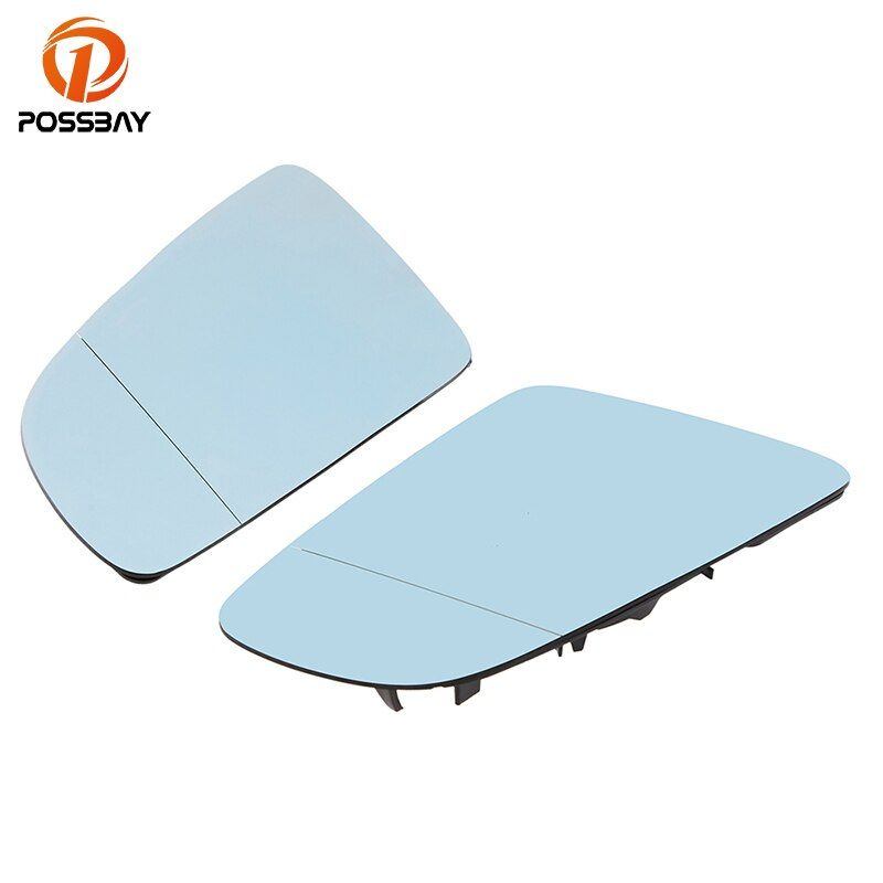 POSSBAY Heated Car Side Wind Mirror for Audi A6 C6 Sedan/Avant 2005-2008 Rearview Mirror Glass Blue Lens With Backing Plate