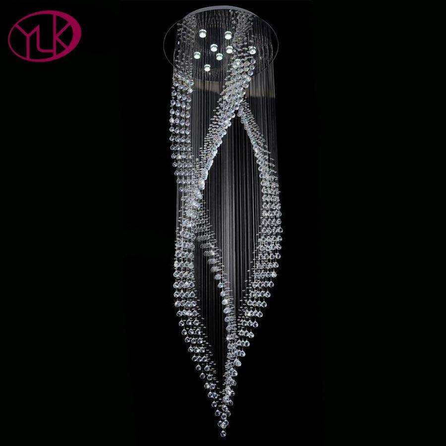 Youlaike Luxus Moderne Kristall Kronleuchter Lange Treppe Hängen Kristalle Leuchten AC110-240V LED Lüster De Cristal