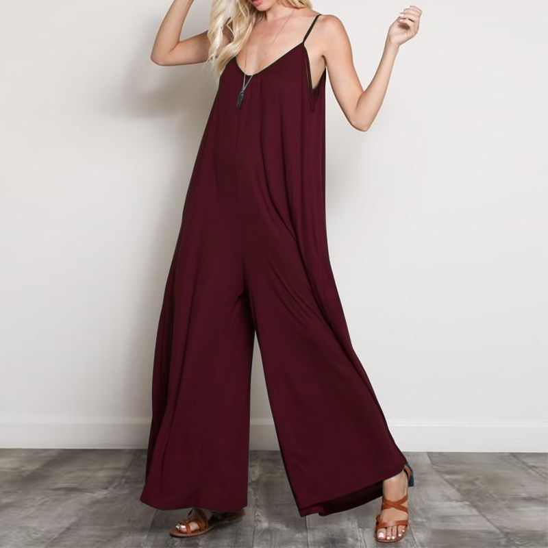 ZANZEA 2018 Summer Women Sexy V Neck Long Jumpsuits Casual Loose Rompers Overalls Wide Leg Mono Bodysuit Playsuits Plus Size 5XL