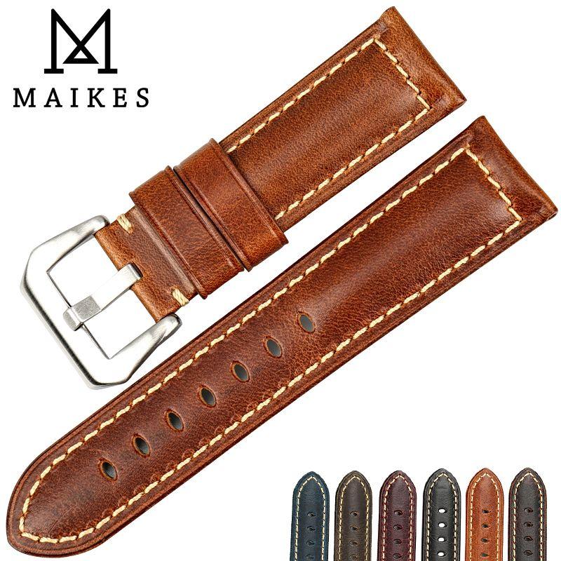 MAIKES Vintage bracelet de montre en cuir italien 22mm 24mm 26mm bracelets de montre bracelet montre accessoires pour bracelet de montre fossile