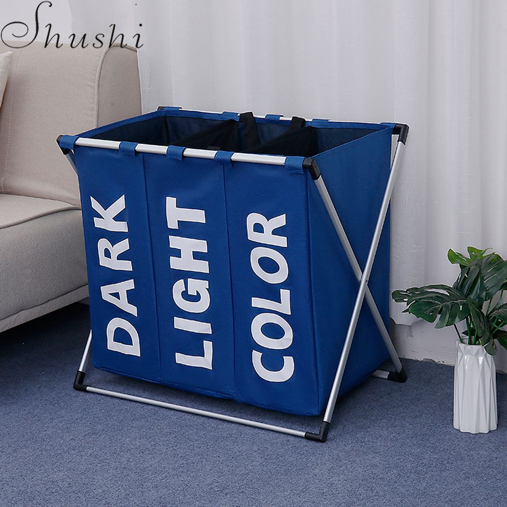 Shushi dirty cloth storage bag aluminum frame baby toy Clothes <font><b>Organizer</b></font> laundry bucket Portable collapsible Laundry Basket