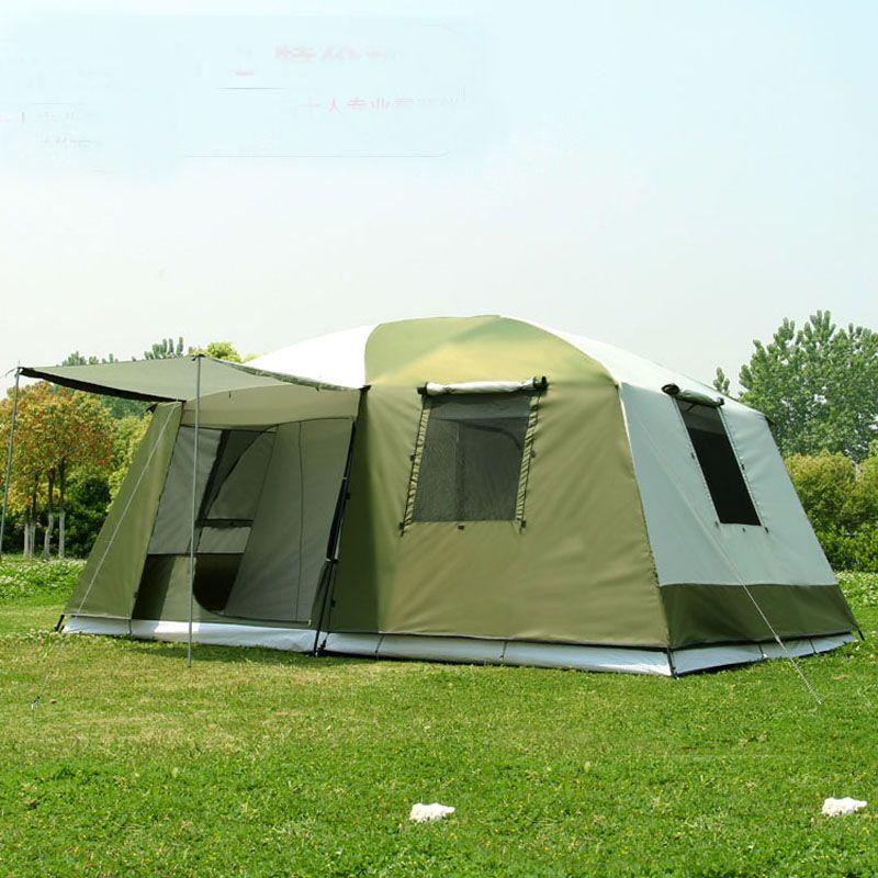 Haute qualité 10 personnes double couche 2 chambres 1 hall grande fête familiale en plein air camping tente de bonne qualité avec grand espace