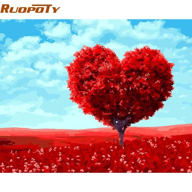 Cadre de RUOPOTY romantique coeur arbre peinture à la main par numéros Kits peinture sur toile peint à la main peinture à l'huile pour décor de mariage