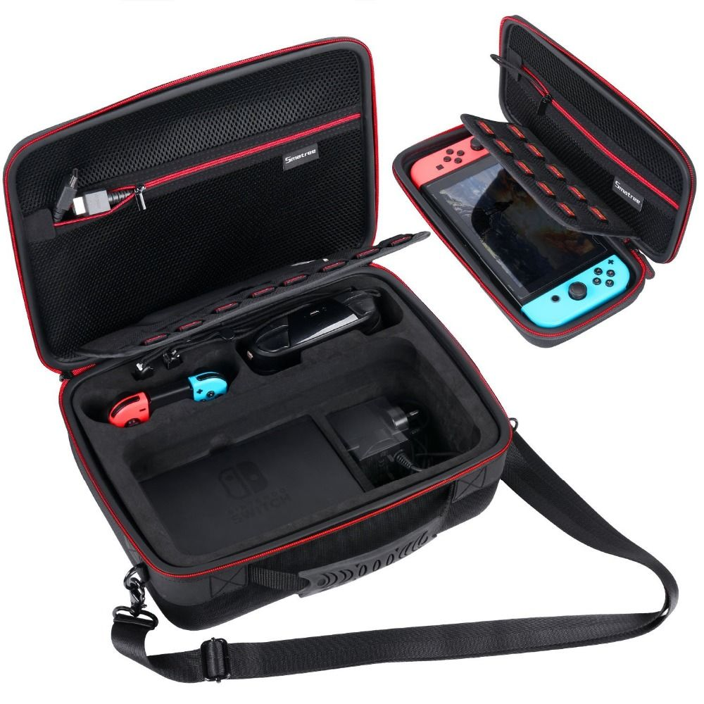 Smatree two NS Carrying Case for Nintend Switch console,Switch Pro controller,dock,Joy-Con grip,AC adapter,Joy-Con straps