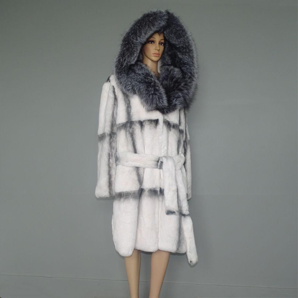 100cm Long Silver Fox Fur Hooded Coat/Imitation White Cross Mink Designing Rex Rabbit Fur Outwear Garment Overcoat Blazer Parka