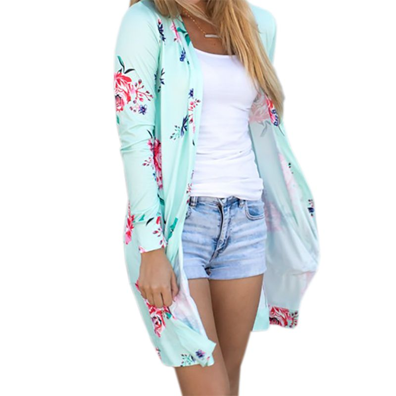 Summer Coat Woman Kimono Jacket Casual Floral Cardigans Jackets <font><b>Long</b></font> Sleeve Loose Coat Tops Tee Tunic Mujer Femme 2017 WS1105U