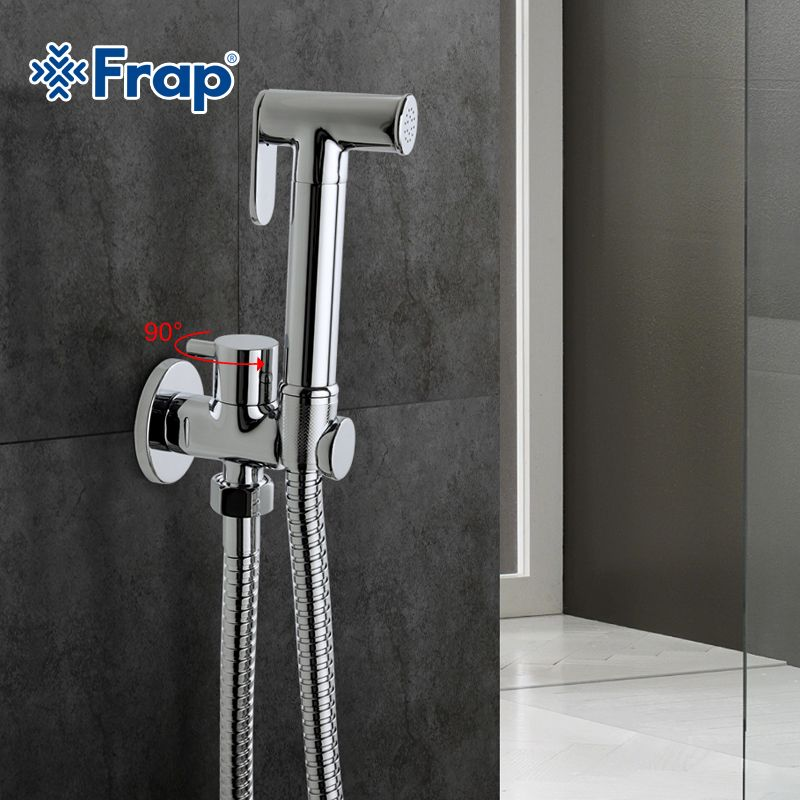 Frap1 Set Solid Brass Single <font><b>Cold</b></font> Water Corner Valve Bidet Function Cylindrical Hand Shower Tap Crane 90 Degree Switch F7501