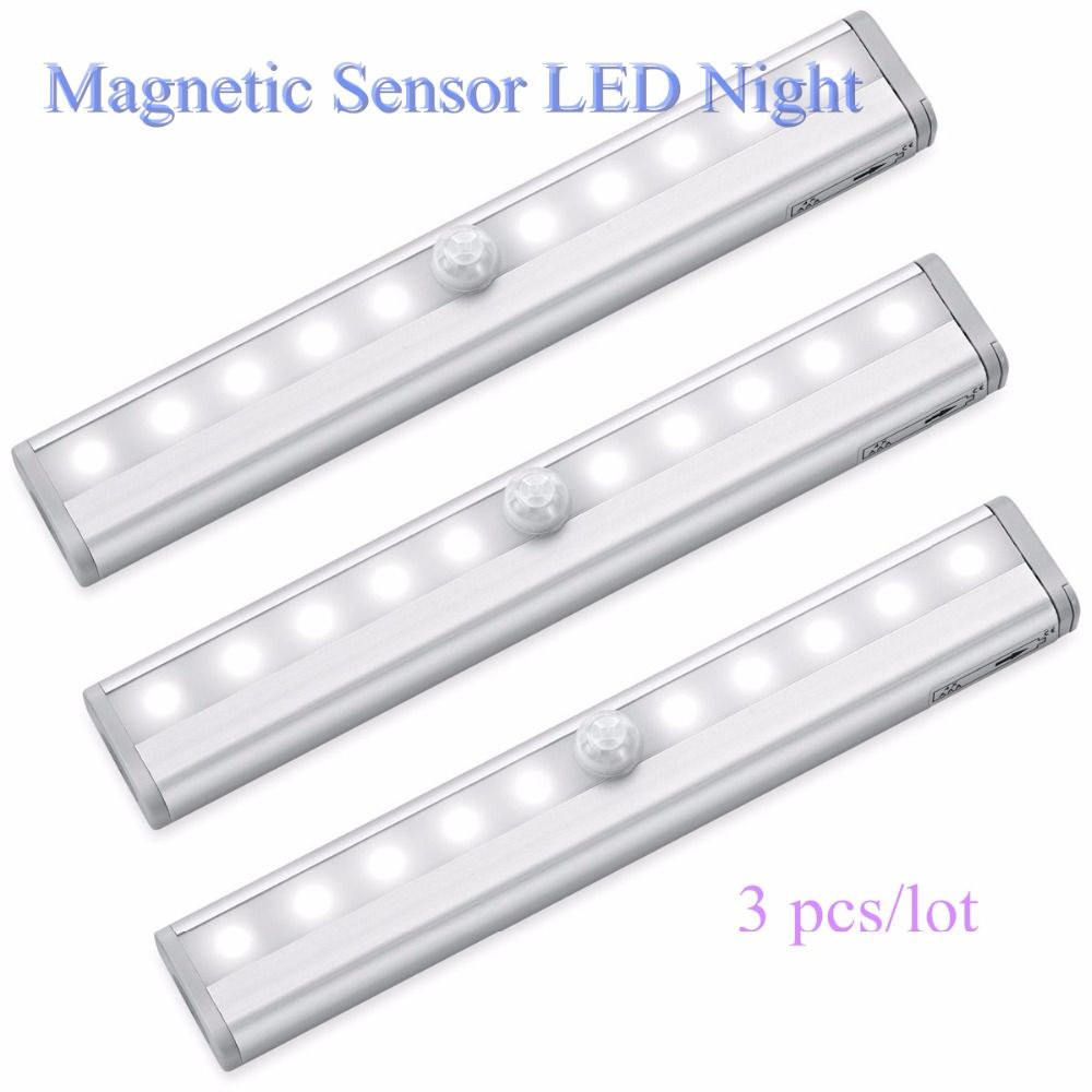 3pcs Metal 10 LED lamp strip Stick-on Anywhere Portable Wireless Cabinet Sensor Night Light Bar with Magnetic Strip Hot sales