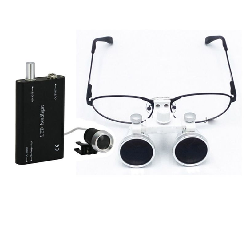 Dental Loupes 3.5X 420 mm Surgical Magnifying Glasses Dental Equipment Surgical Dentists Magnifier with LED Head Light Lamp