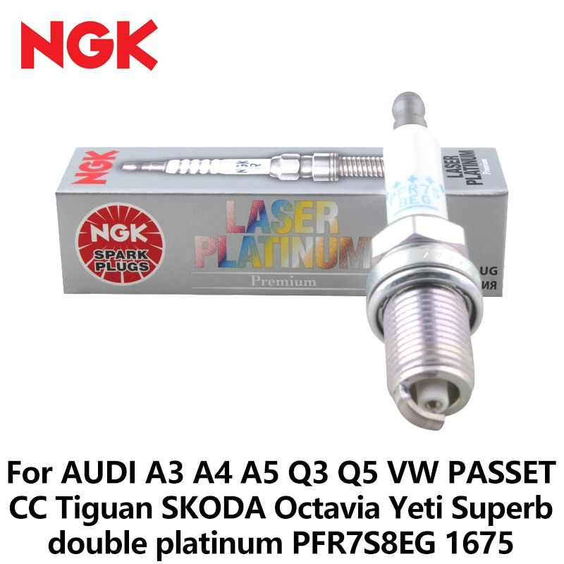 4pcs/lot NGK Car Spark Plug For AUDI A3 A4 A5 Q3 Q5 VW PASSET CC Tiguan SKODA Octavia Yeti Superb double platinum PFR7S8EG 1675