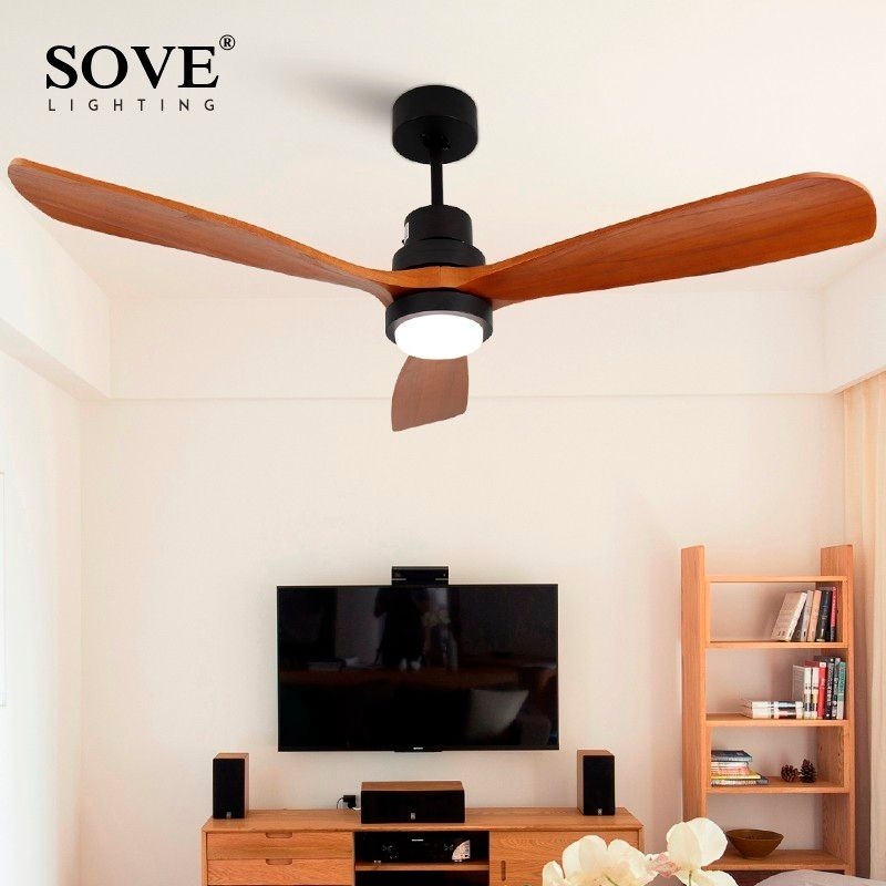 Sove Wooden Ceiling Fans Without Light Bedroom 220v Ceiling Fan Wood Ceiling Fans With Lights Remote Control Ventilador De Teto