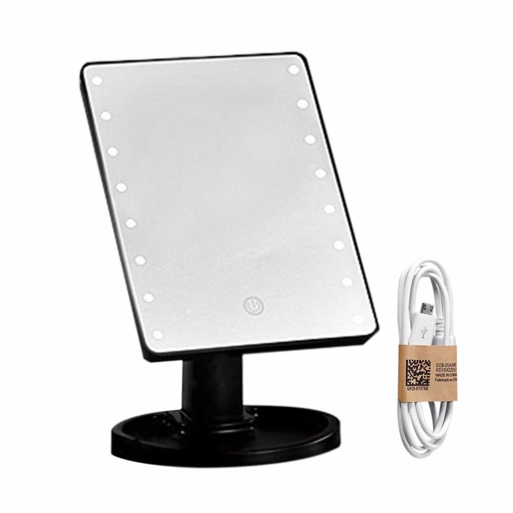 Compact 360 Degree Rotation Desktop Makeup Mirror 16LED Luminous Touch Screen USB Rechargeable Cosmetic Mirrors new